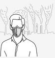 metaphor man using shield as a disposable face vector image vector image