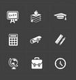modern flat social icons set on dark background vector image vector image