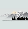 mountain view with the lonely house vector image vector image