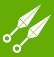 ninja weapon kunai icon green vector image vector image