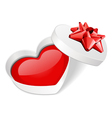 open gift heart with red heart vector image vector image