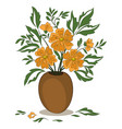 orange flowers in a vase vector image vector image