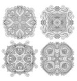ornamental line art floral mandala set vector image