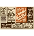 Pack old advertisement designs and labels vector image vector image