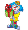 party clown with gift vector image