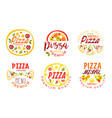 pizza premium quality menu labels collection fast vector image vector image