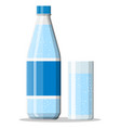 plastic bottle and glass fresh mineral water vector image vector image