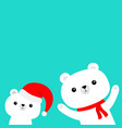 polar white bear set red santa claus hat scarf vector image