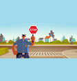police inspector holding stop sign policeman vector image