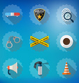 Police Sequrity Flat Icon Set Include road cone vector image vector image
