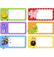 Polkadot labels with many insects vector image