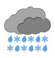 rain with snow icon weather label for web on vector image vector image