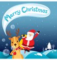 Reindeer Blowing Bubble With Santa Claus vector image vector image