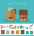 school equipment and backpacks vector image vector image
