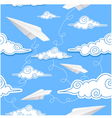 Seamless background with paper airplane and decora vector image
