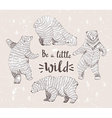 Set of sketched bears with the stylish hipster vector image vector image