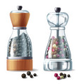 set of two pepper mills with peppercorns vector image vector image