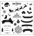 set vintage black christmas symbols and ribbons vector image