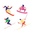 set winter time sports activities isolated vector image