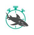 shark stopwatch logo design isolated vector image