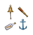 ship bell anchor telescope message in bottle vector image vector image