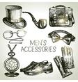 Sketch gentlemen accessories Hand drawn men set vector image vector image