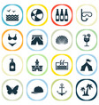 summer icons set with sunscreen palms pool and vector image