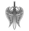 sword with wings tattoo vector image