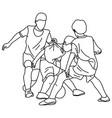 three boys playing football sketch vector image vector image