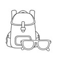 travel bag camping with eye glasses vector image vector image