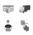 truck courier for delivery pizza forklift vector image vector image
