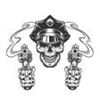 vintage skull in police hat vector image vector image