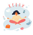 young happy yoga mom in lotus is relaxing vector image vector image