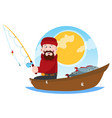 a fisherman on a wooden boat fishing a cartoon vector image