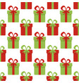 christmas seamless pattern with red and green gift vector image