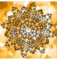 Outlined mandala Print on yellow watercolor vector image
