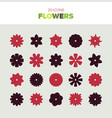 20 beautiful flower icons in various shapes vector image
