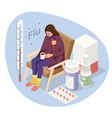 a sick upset woman with a cup tea sitting in a vector image