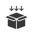 arrow and open box shipping and delivery concept vector image vector image