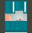 beautiful bright kitchen background kitchen set vector image vector image