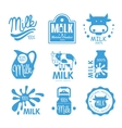 Blue and White Milk Symbols vector image vector image