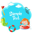 border template with girl swimming vector image vector image