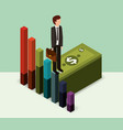 businessman standing pile banknote money isometric vector image