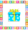 cartoon blue gift box wrapped with festive bow vector image