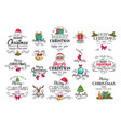 christmas decoration labels vector image vector image