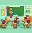 classroom with kids teacher or professor teaches vector image vector image