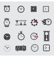 Clock icons set placed on gray vector image