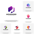 collection hexagone head logo head intelligence vector image