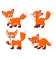 collection of the fox with different possing vector image