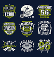 College rugby team emblem vector image vector image